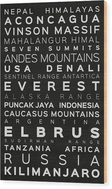 Seven Summits Messner Version Typography On Black Wood Print