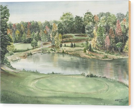 Seventeen Green The Trails Golf Course Wood Print by Lane Owen