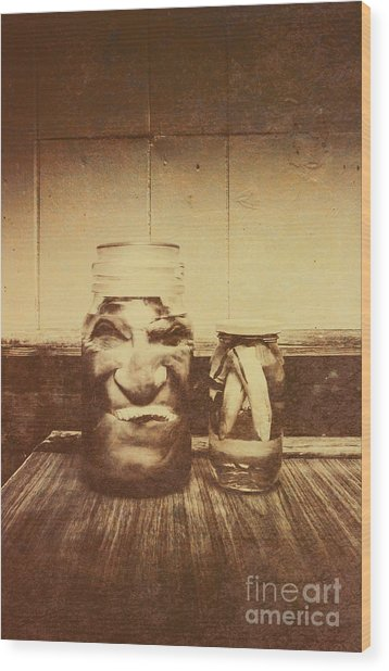 Severed And Preserved Head And Hand In Jars Wood Print
