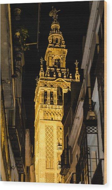 Seville - The Giralda At Night  Wood Print