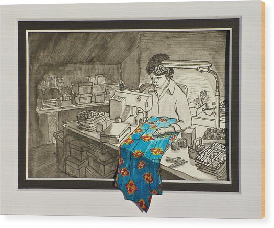 Sewing Overflowing Wood Print by Vic Delnore