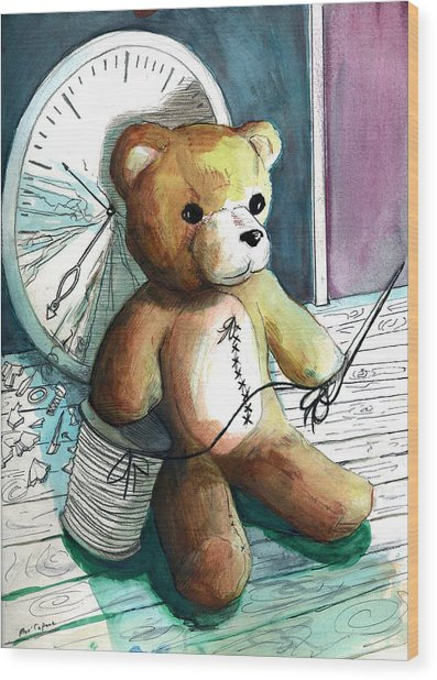 Wood Print featuring the painting Sewn Up Teddy Bear by Rene Capone