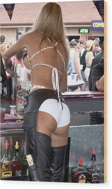 Sexy Female Bartender  Wood Print