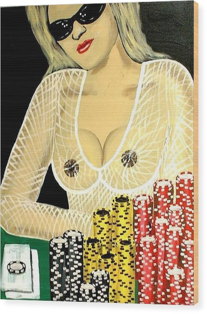 Sexy Poker Girl Wood Print by Teo Alfonso