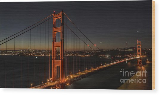Sf Departure Wood Print