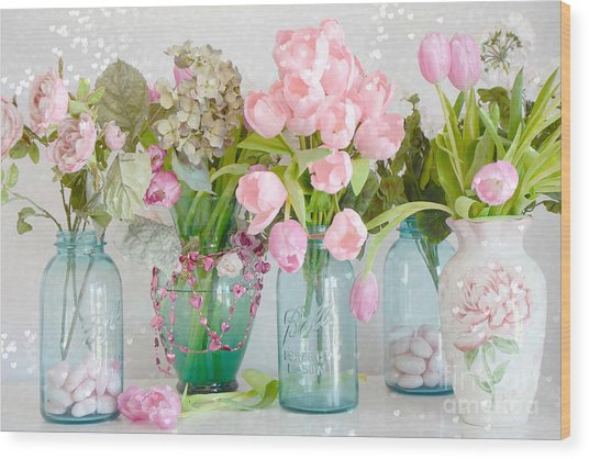 Shabby Chic Cottage Ball Jars And Tulips Floral Photography - Mason Ball Jars Floral Photography Wood Print