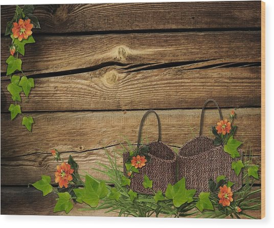 Shabby Chic Flowers In Rustic Basket Wood Print