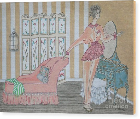 Shabby Chic -- Art Deco Interior W/ Fashion Figure Wood Print