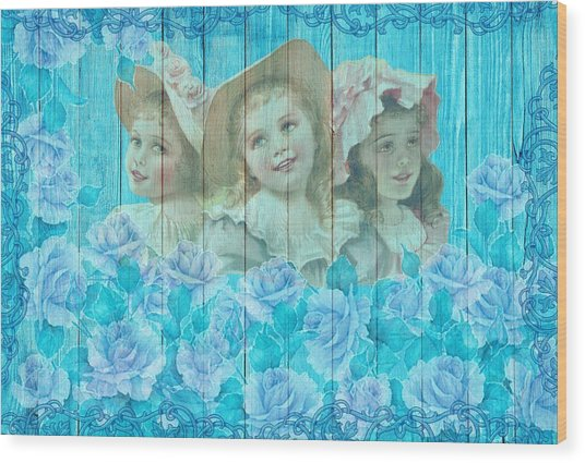 Shabby Chic Vintage Little Girls And Roses On Wood Wood Print