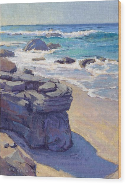 Wood Print featuring the painting Shadow At Crystal Cove by Konnie Kim