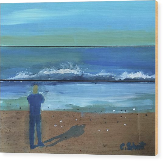 Shadow Beach Wood Print