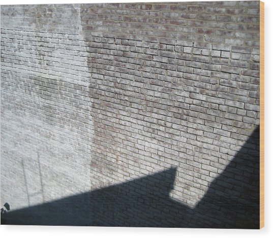 Shadow Brick Wood Print by Sean Owens