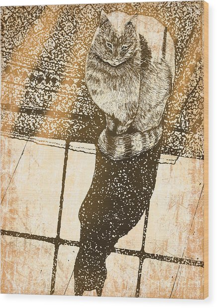 Shadow Cat Wood Print