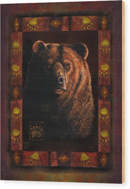 Shadow Grizzly Wood Print