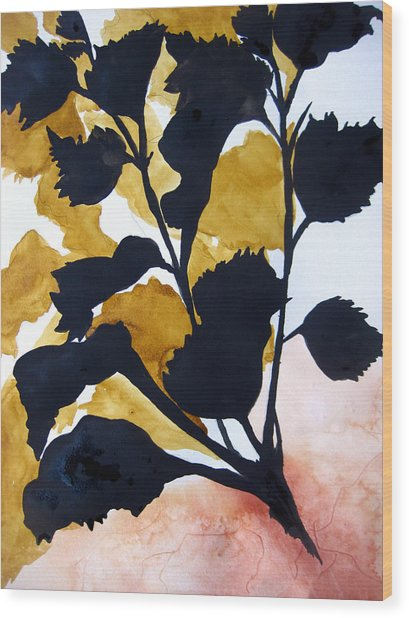 Shadow Hibiscus Wood Print