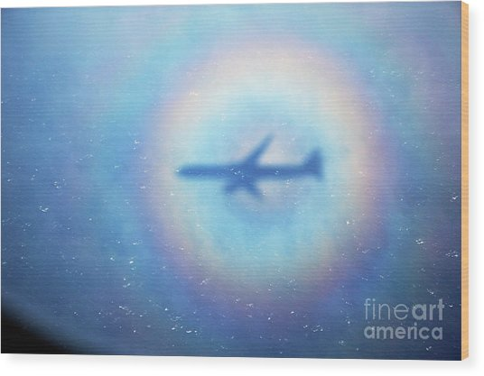 Shadow Of An Aeroplane Surrounded By A Rainbow Halo Wood Print by Sami Sarkis