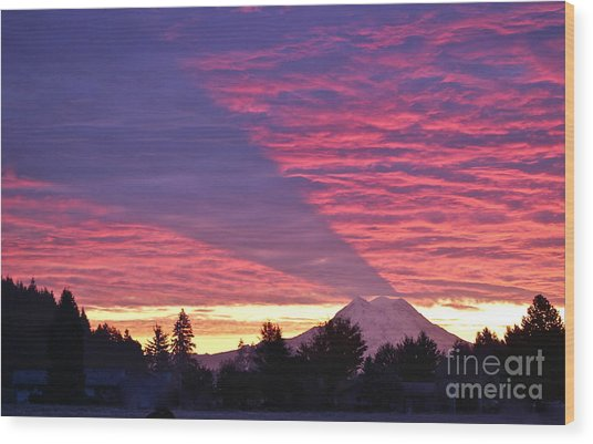 Shadow Of Mount Rainier Wood Print