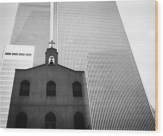 Shadow Of World Trade Center Wood Print