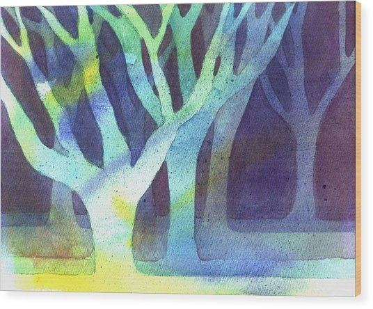 Wood Print featuring the painting Shadow Trees by Jane Croteau