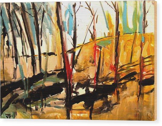 Shadow Trees Wood Print