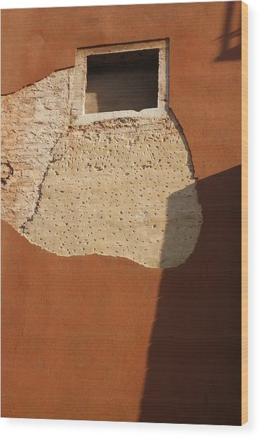Shadow With Square Window In Venice Wood Print by Michael Henderson