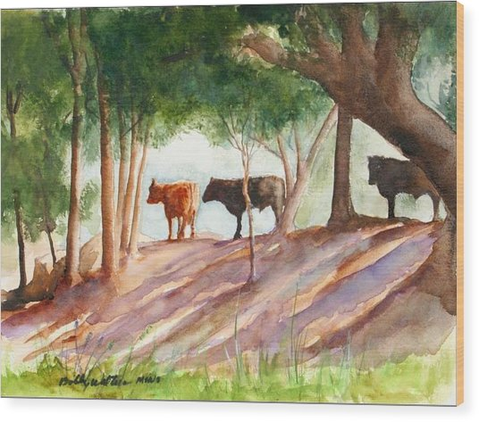 Shady Beef Wood Print