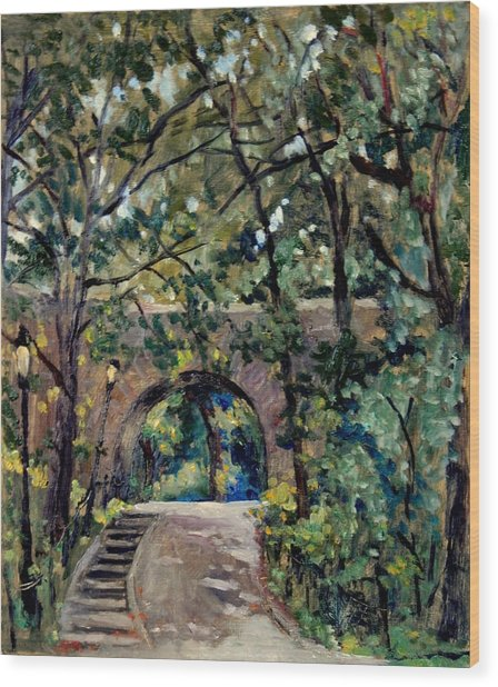 Shady Path Near The Cloisters Fort Tryon Park Nyc Wood Print