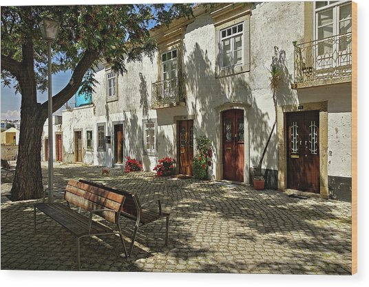Wood Print featuring the photograph Shady Street In Tavira, Portugal by Barry O Carroll
