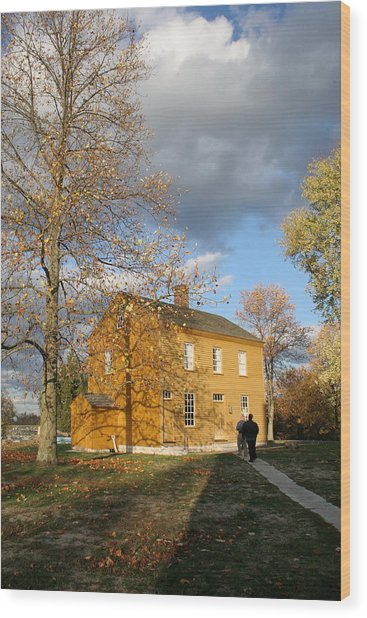 Shaker Building In The Fall Wood Print by Angie Bechanan