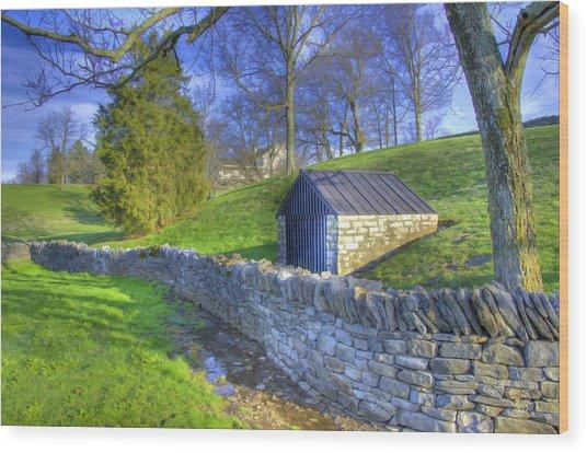Shaker Stone Wall 6 Wood Print