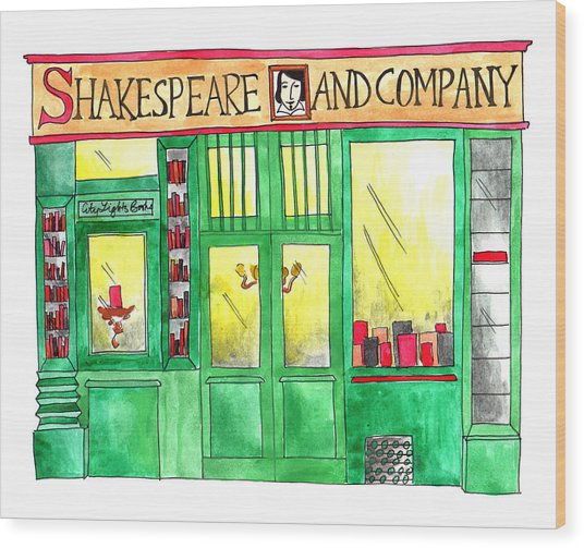Shakespeare And Company Wood Print