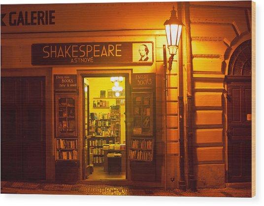 Shakespeares' Bookstore-prague Wood Print