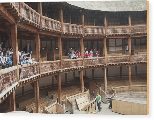 Shakespeare's Globe Theater C378 Wood Print by Charles  Ridgway