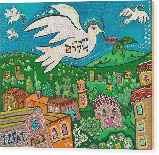 Shalom Over Tzfat Wood Print