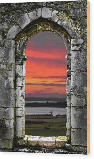 Wood Print featuring the photograph Shannon Sunrise Through Medieval Arch by James Truett