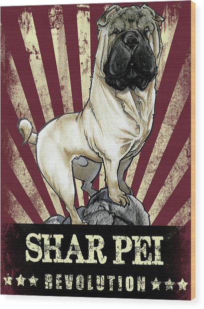 Shar Pei Revolution Wood Print