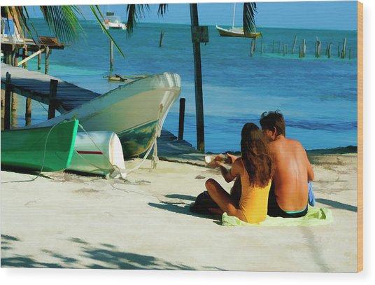 Sharing A Coconut On Caye Caulker, Belize Wood Print