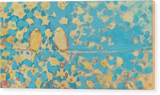 Sharing A Sunny Perch Wood Print