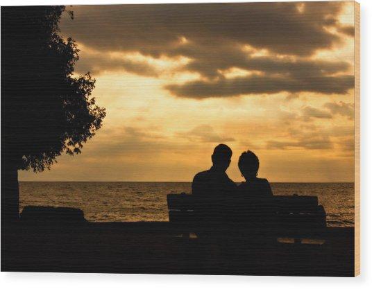 Sharing A Sunset Wood Print by Carl Jackson