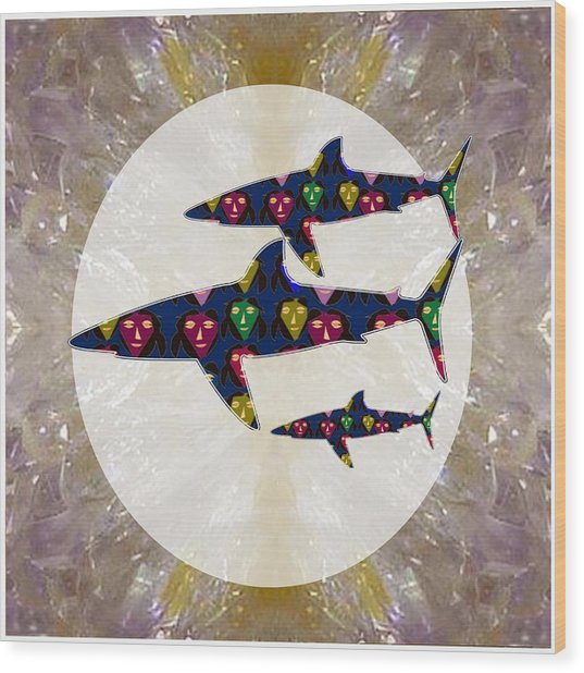Shark Fish Dangerous Painted Cartoon Face Link For Download Option Below Personal N Commercial Uses Wood Print