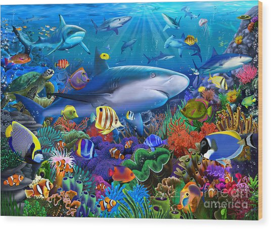 Shark Reef Wood Print