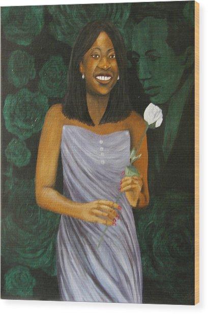 Sharon's Rose With Langston Wood Print
