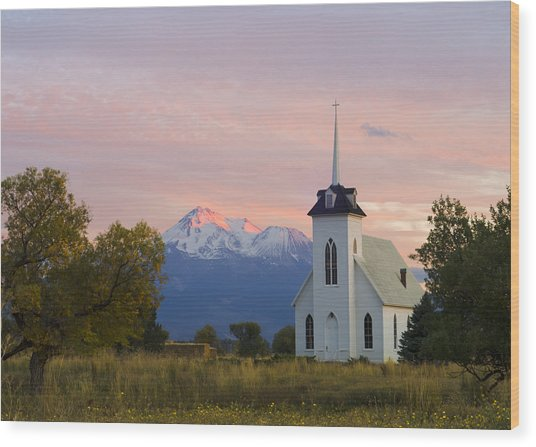 Shasta Alpenglow With Historic Church Wood Print