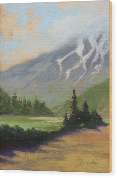 Shasta View Wood Print by Janet Biondi