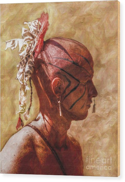 Shawnee Indian Warrior Portrait Wood Print