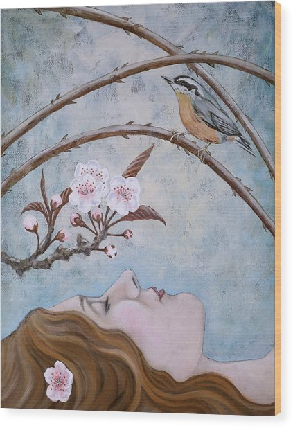 She Dreams The Spring Wood Print