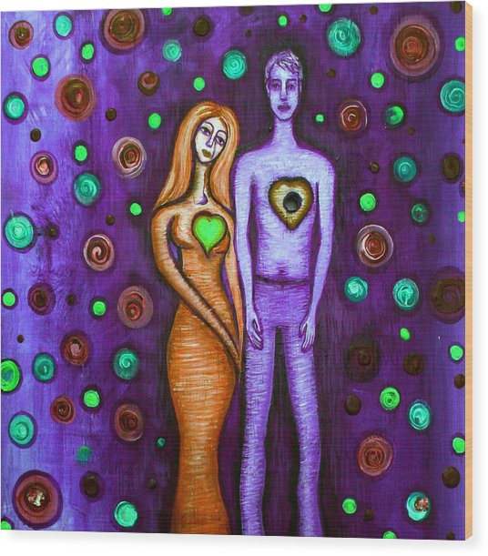 She Grieves The Hole In His Heart-purple Wood Print by Brenda Higginson