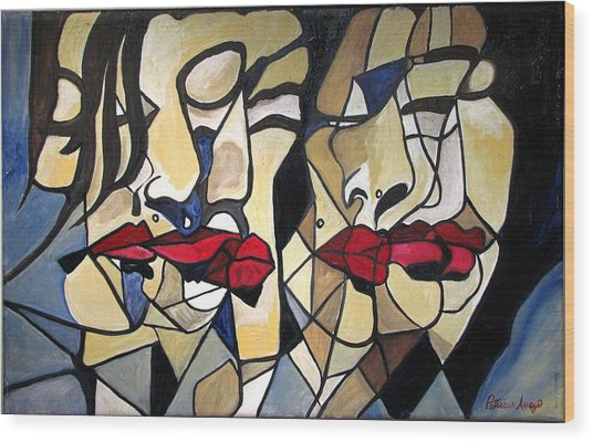 She Had Red Lips Wood Print by Patricia Arroyo