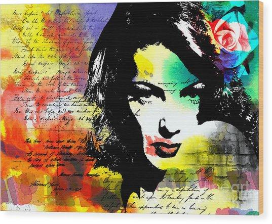 She Knew Wood Print by Ramneek Narang