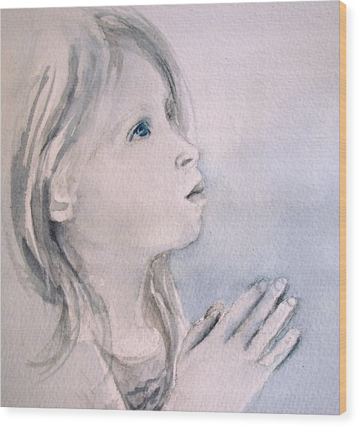She Prays Wood Print